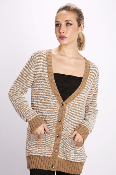Stitched Striped Boyfriend Cardigan