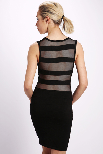 Mesh Striped Bodycon Dress