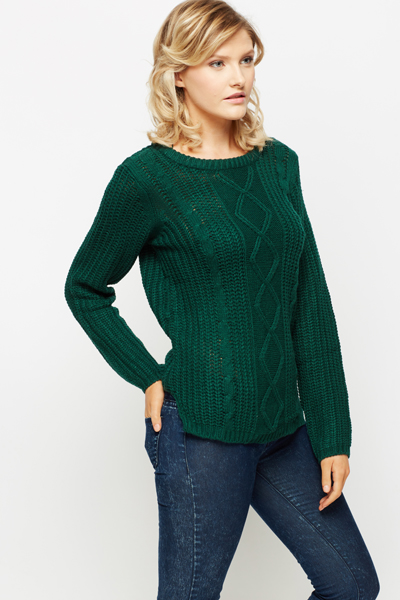 Perforated Cable Knit Jumper