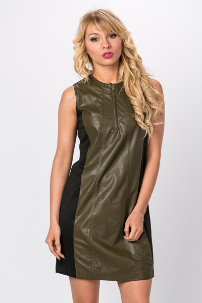 Faux Leather Panel Zip Front Dress