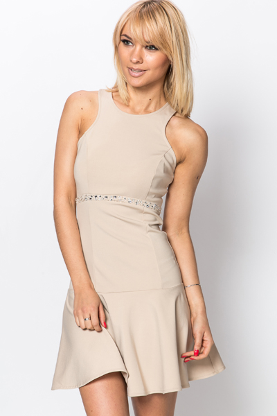 Encrusted Trim Frill Hem Dress