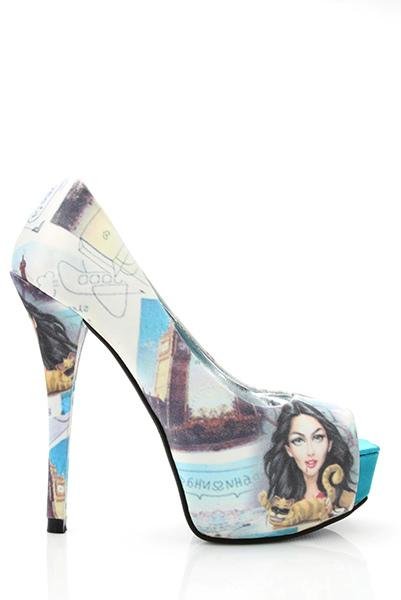 Printed Satin Peep Toe Shoes