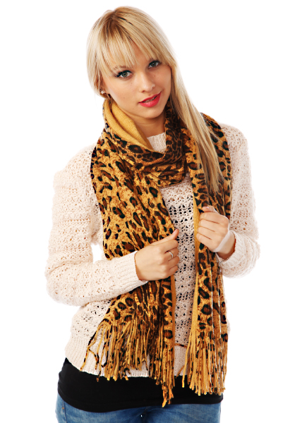 Soft Knit Leopard Pattern Scarf