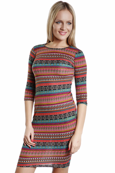 Tribal Print Stripe Midi Dress