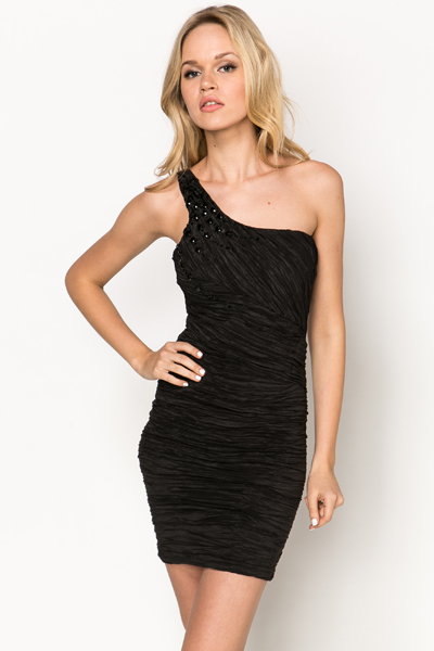 One Shoulder Embellished Shirred Dress