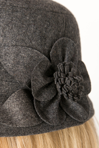 Flower Embellished Trim Hat