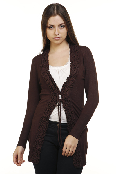 Pleated Trim Knit Cardigan
