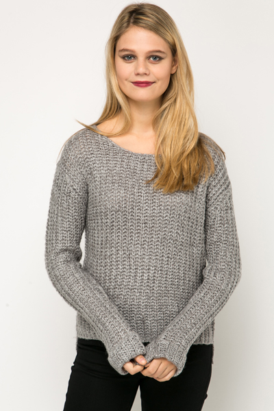Zip Back Chunky Knit Pullover
