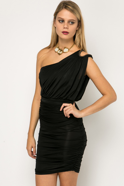 Embellished One Shoulder Ruched Dress