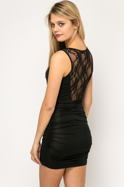 Lace Back Ruched Dress