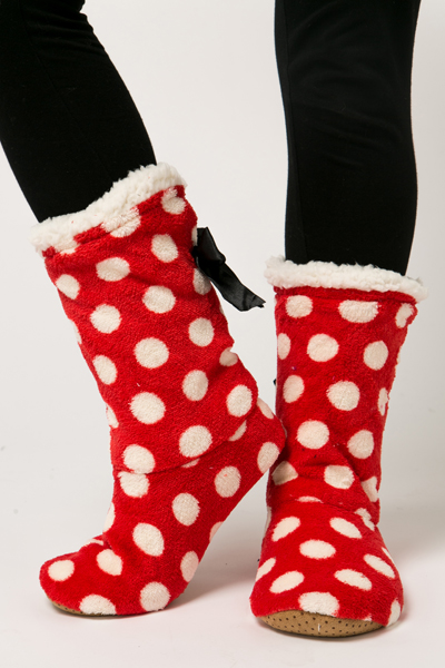 Fleeced Polka Dot Slipper Boots