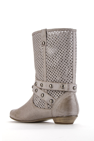 Studded Trim Perforated Boots