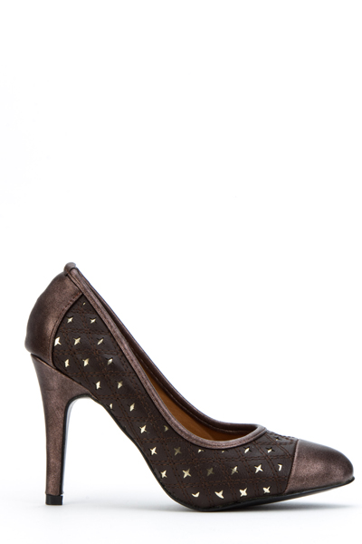 Laser Cut Quilted Star Metallic Heel Pumps