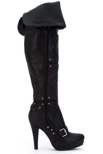 Studded Buckle Over The Knee Boots