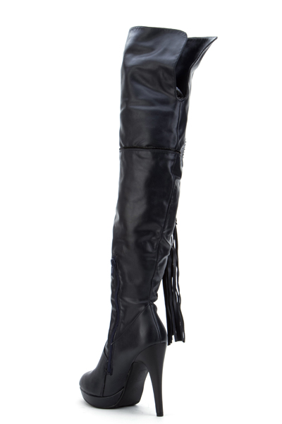 Stud & Zip Panel On The Knee Boots
