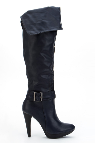 Pleated Buckle Over The Knee Boots