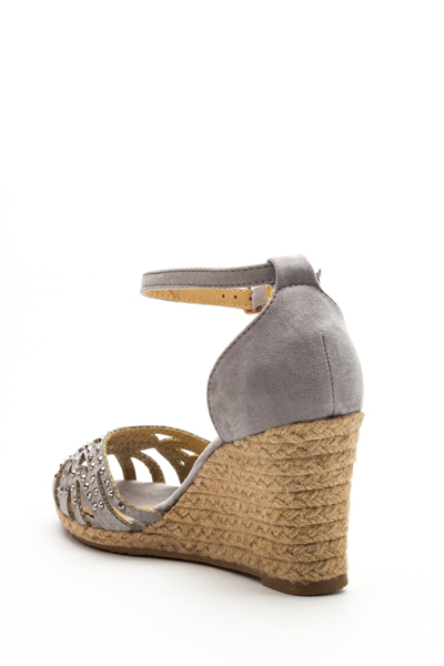Embellished Caged Toe Wedge Sandals