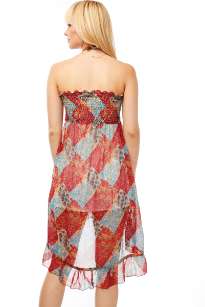 Patchwork Pattern Halterneck Dress
