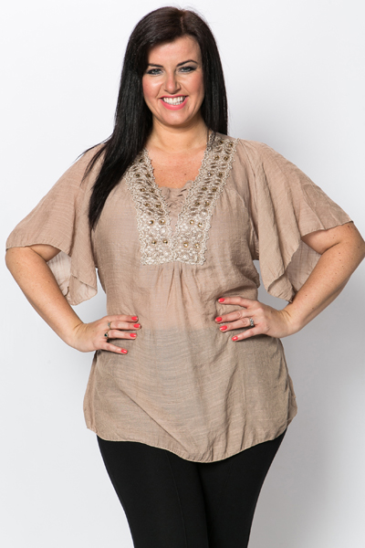 Flared Sleeve Embellished Top