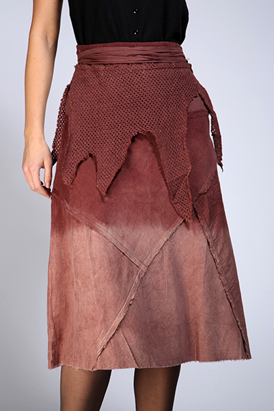 Velvet Patches & Crochet Layered Midi Skirt