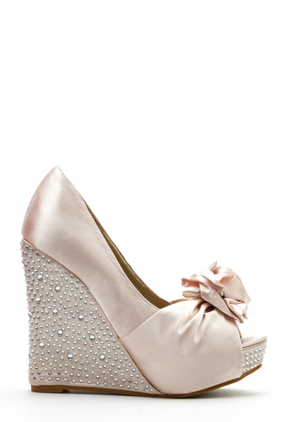 Encrusted Rose Embellished Wedge Heels