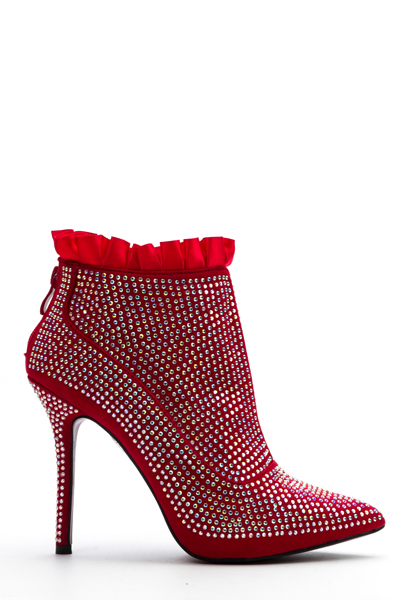 Frill Trim Encrusted Stiletto Ankle Boots