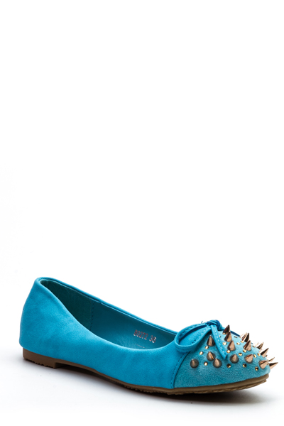 Spike Stud Embellished Flat Pumps