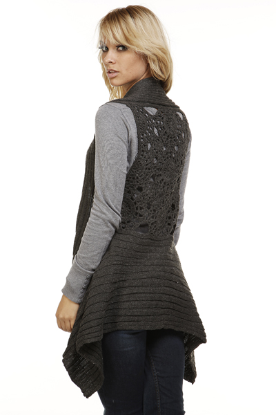 Crochet Knit Back Waterfall Cardigan