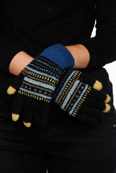 Vintage Pattern Knit Gloves