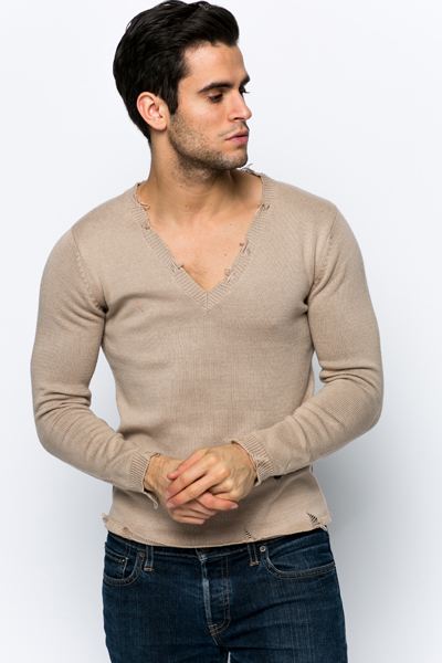Distressed V-Neck Jumper