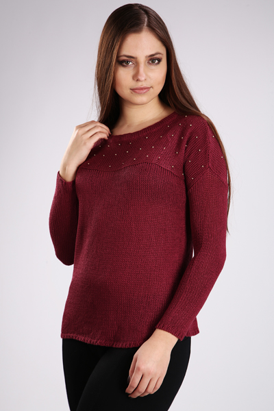Embellished Round Neck Knit Pullover
