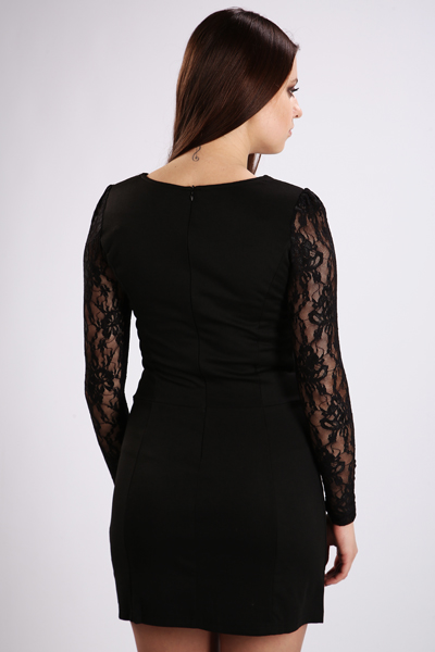 Lace Sleeve Pocket Front Dress