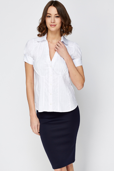 Lace Trim White Stripe Blouse