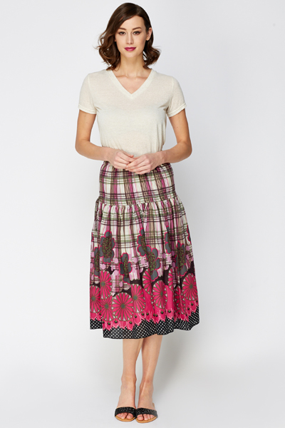 Floral Graphic A-line Skirt
