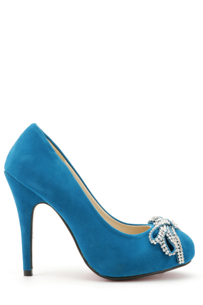 Diamante Studded Bow Court Shoes