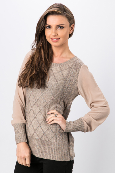 Sheer Sleeve Knit Top