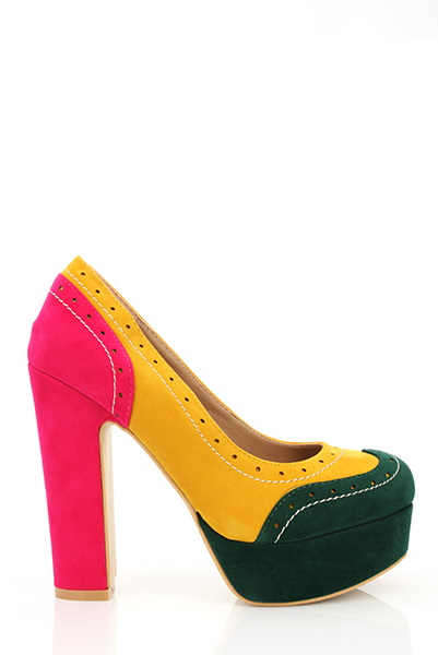 Multicolour Velour Spectator Shoes