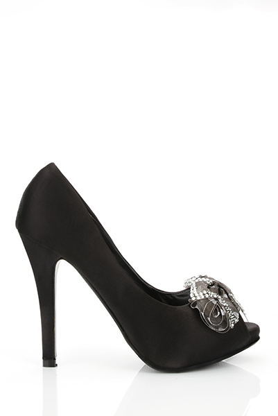 Encrusted Bow Satin Peep Toe Shoes