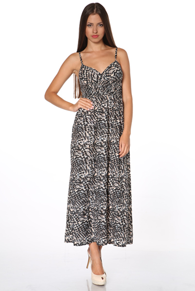 Cream Spotted Maxi Dress