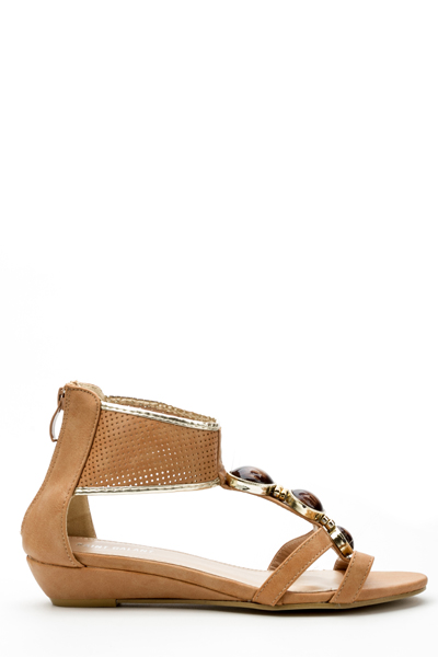 Perforated Strap Embellished Flat Sandals