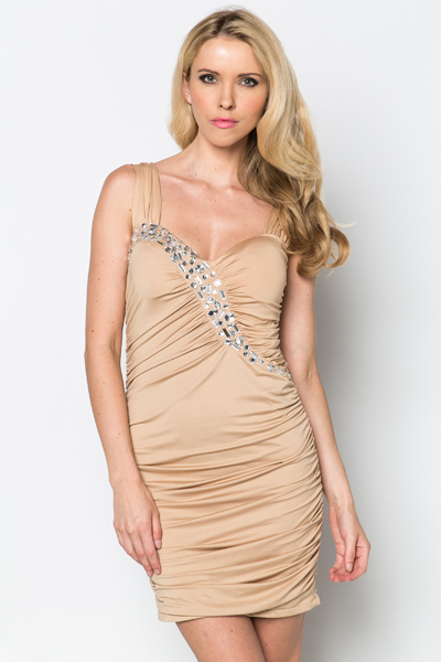 Embellished Ruched Party Dress