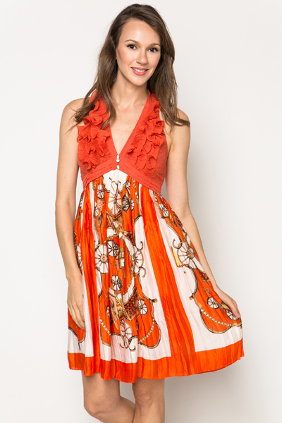 Ruffle Halterneck Scarf Print Dress