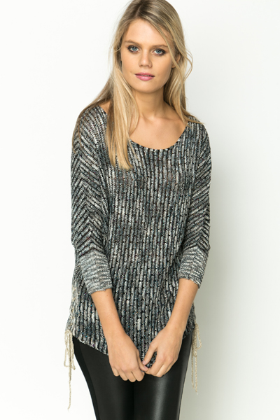Tie-Up Metallic Knit Pullover