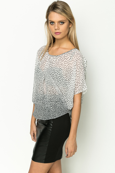 Spotted Batwing Blouse