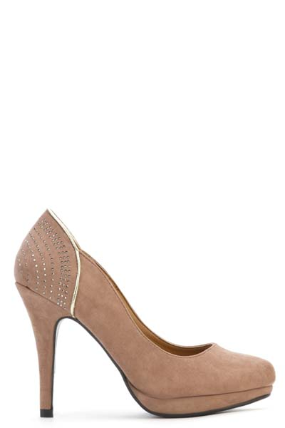 Encrusted Back Suedette Court Shoes
