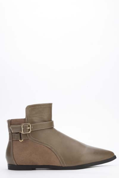 Buckle Trim Flat Boots