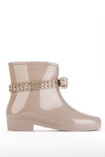 Diamante Encrusted Bow Wellie Ankle Boots