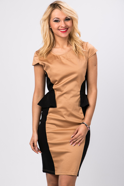 Textured Rib Contrast Peplum Dress