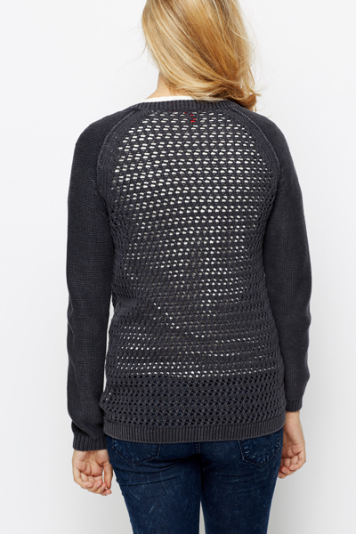 Zip Front Perforated Cardigan