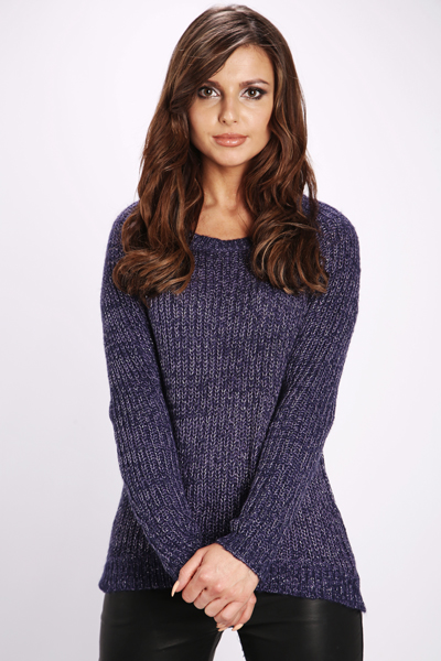 Metallic Fibre Rib Knit Jumper